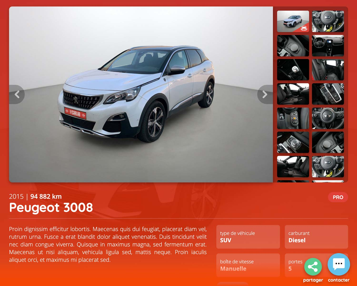 screen mycarlab page partage 360 photos voiture carlab peugeot 3008